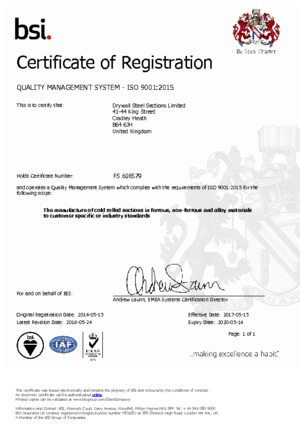 DSS ISO 9001 2015 Certificate pdf cover